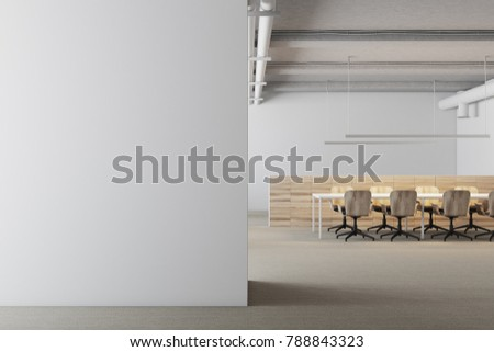 White meeting room interior with a long table and rows of yellow and white office chairs standing near it. A white wall fragment. 3d rendering mock up