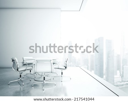 White meeting room with panoramic cityscape - stock photo