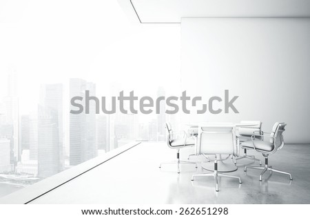 White meeting room with panoramic view - stock photo