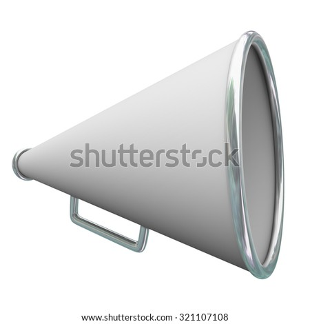 White megaphone or bullhorn for sharing communication, information, messages or announcements - stock photo