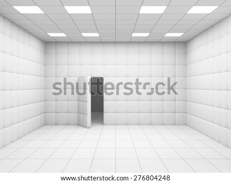 White Mental Hospital Room Interior with Opened Door. 3D Rendering - stock photo