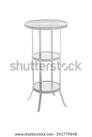 White metal little table isolated on a white background