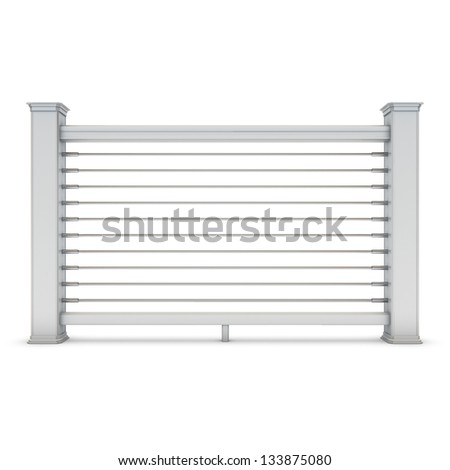 White metal railing with chrome strings - stock photo