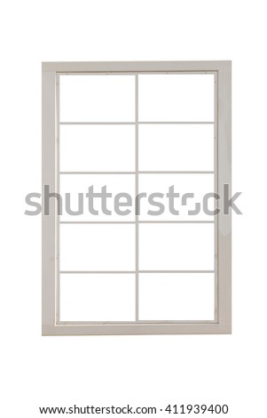 White metal window frame isolated on white background - stock photo