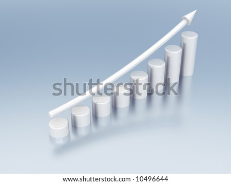 white metallic columns of diagram with arrow rising upwards - stock photo