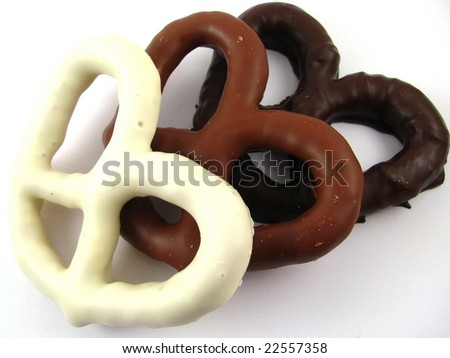 White, Milk, and Dark Chocolate Covered Pretzels