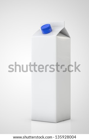 White milk package in a disposable bottle