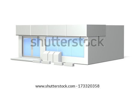 White miniature. It depicts the appearance of a convenience store. - stock photo