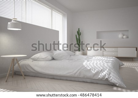 White minimal bedroom, 3d illustration