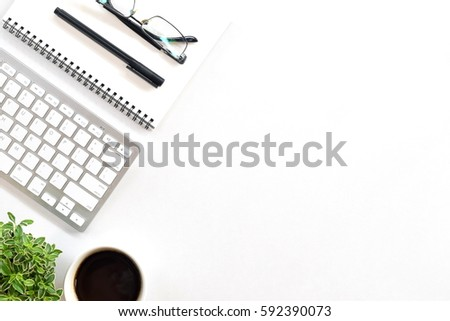 top office table cup. White Minimal Office Desk Table With Computer, Keyboard And Cup Of Coffee. Top View