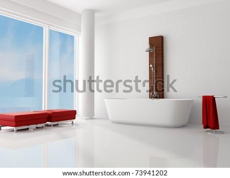 white minimalist bathroom with fashion bathtub with shower-rendering - stock photo