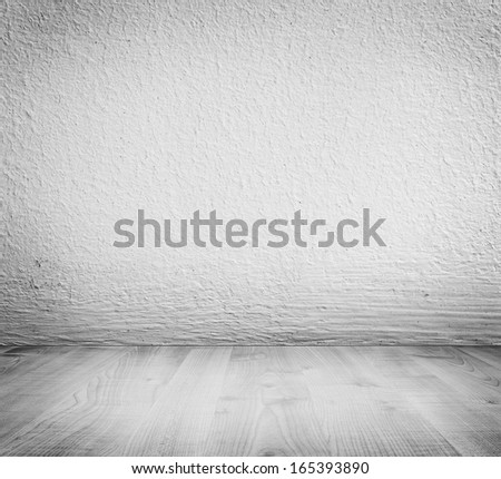 White minimalist plaster, concrete wall background and white wooden floor. High resolution, good for templates, backgrounds, textures. - stock photo