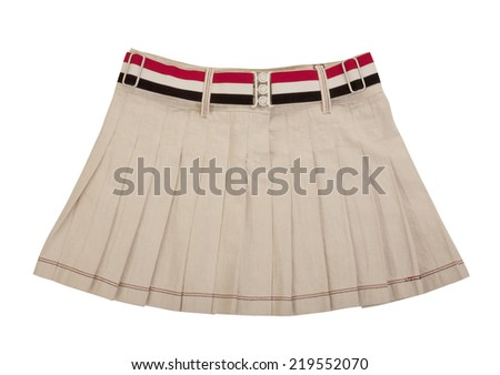 white miniskirt  isolated on white - stock photo