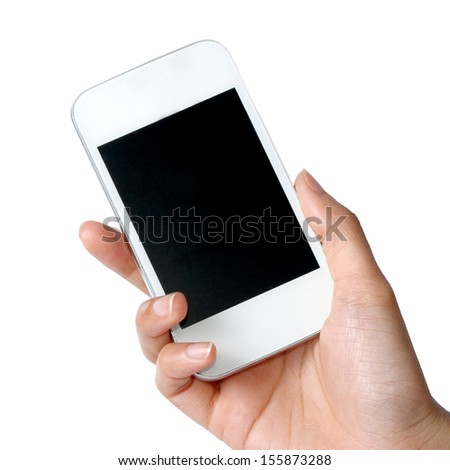 White mobile phone in women hand isolated on white background - stock photo