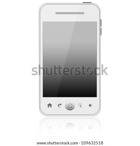 White mobile phone isolated on white background - stock photo