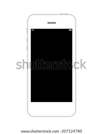 White mobile phone similar to iphone - stock photo