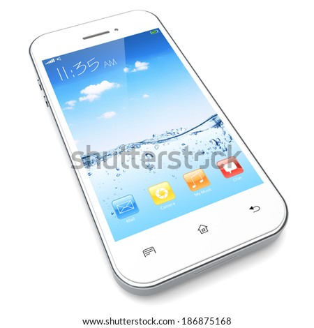 White mobile smart phone with water and sky wallpaper and colorful apps on a screen.