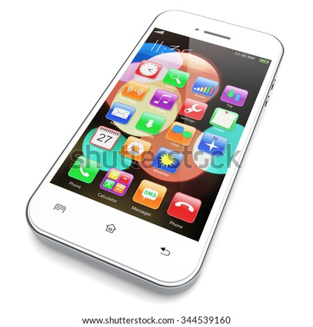 White mobile smartphone with colorful bokeh wallpaper and apps on a screen. 3d image
