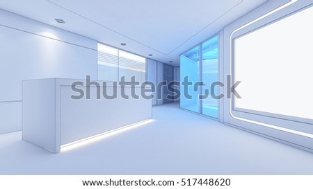 white model office  Reception area 3d rendering