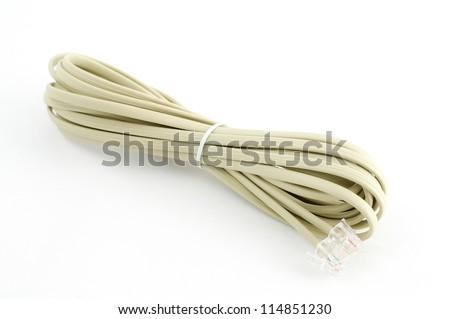 White Modem Cable, Isolated on White background. - stock photo