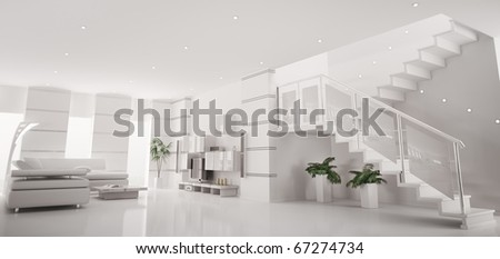 White modern apartment with staircase interior panorama 3d render