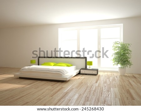 white modern bedroom design with green furniture-3Drendering - stock photo