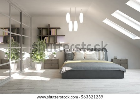 White modern bedroom scandinavian interior design stock illustration 563321239 shutterstock - Beautiful modern scandinavian bedroom designs ...