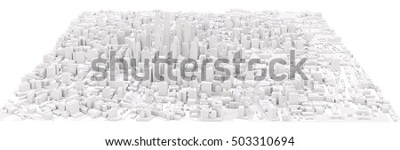 White modern city. Isolated on white. 3D rendering