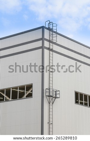 white modern factory building - stock photo