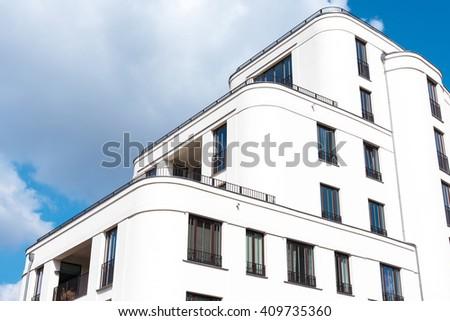White modern family house in Berlin, Germany - stock photo