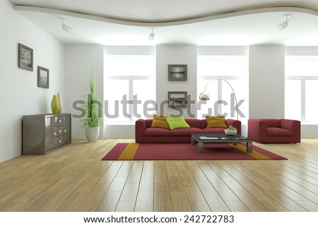 white modern interior-3D rendering