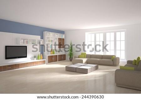 white modern interior -3D rendering - stock photo