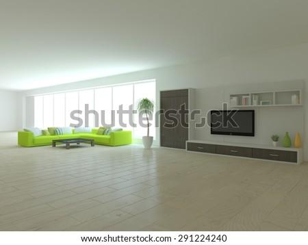 white modern interior design - stock photo