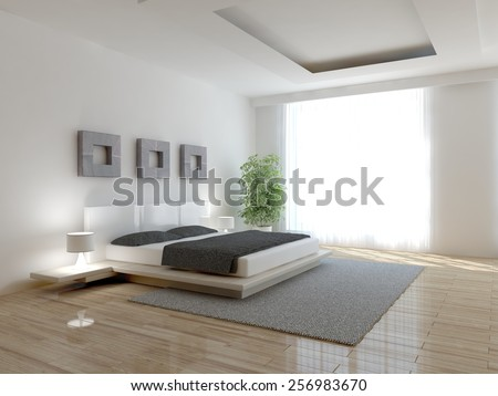 white modern interior of bedroom-3D rendering - stock photo