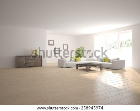 white modern interior of living room-3D rendering - stock photo