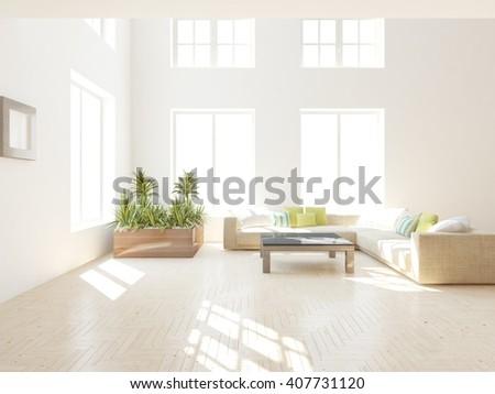 white modern interior of living room -3D rendering - stock photo