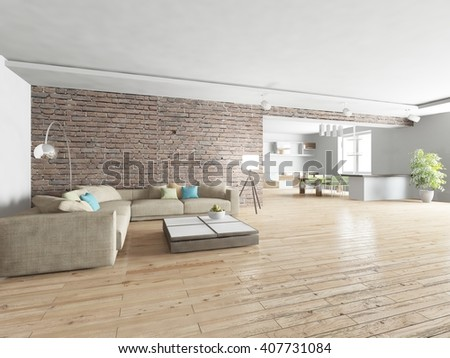 white modern interior of living room with brick wall -3D rendering - stock photo