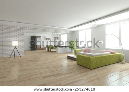 white modern interior with green furniture-3D rendering - stock photo