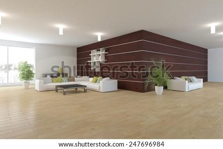 white modern interior with panoramic windows and corner sofa-3D rendering - stock photo