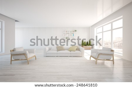 white modern interior with panoramic windows and corner sofa-3D rendering - stock photo