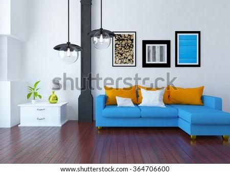 white modern interior with sofa. 3d illustration - stock photo
