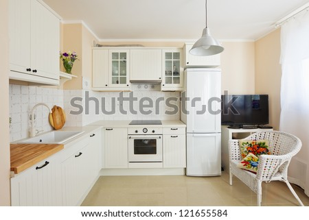 white modern kitchen room  in antique rustique style - stock photo