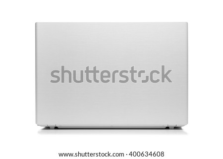 White modern laptop isolated on white background. Back view. - stock photo