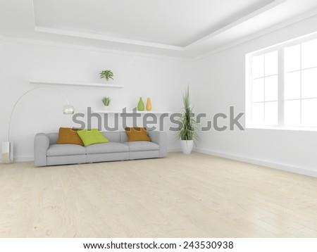 white modern living room-3D rendering - stock photo