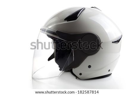 White modern quad ATV helmet - stock photo