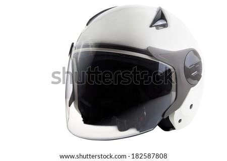 White modern scooter helmet - stock photo