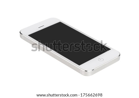 White modern smartphone with blank screen lies on the surface, isolated on white background. Whole image in focus, high quality. - stock photo