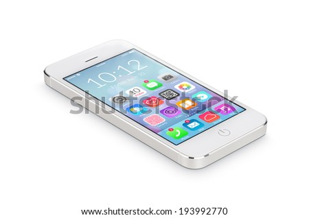 White modern smartphone with flat design application icons on the screen lies on the surface, isolated on white background. Whole image in focus, high quality.