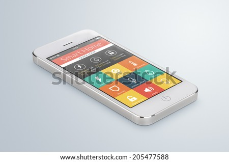 White modern smartphone with smart home application on the screen lies on the gray surface. For access to all of the controls of your house, door locks, lights, thermostats and caring of home security - stock photo