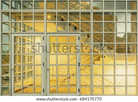 White Modern Square Windows Glass Wall Stock Photo (Royalty Free ...